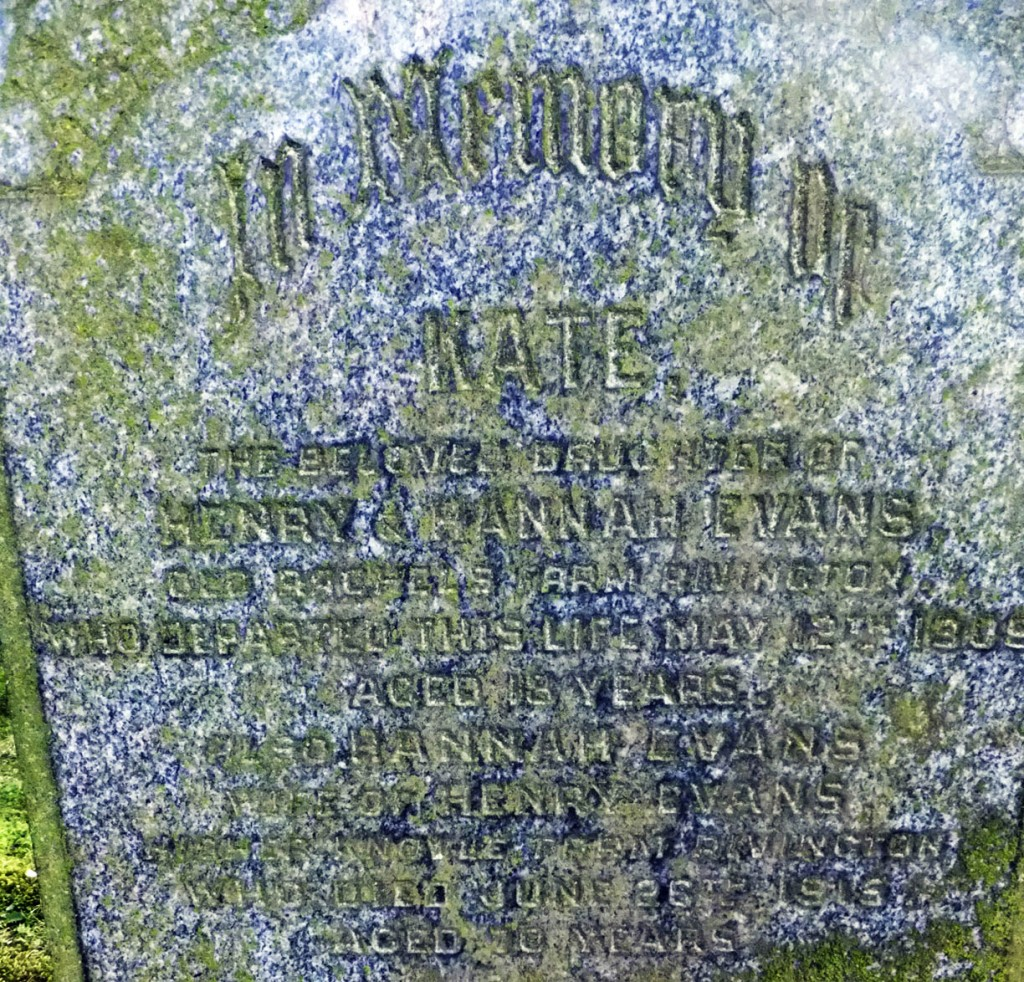 Evans family grave, showing Hannah (mother) and Kate (daughter).