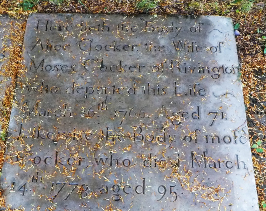 The grave of Moses Cocker and his wife, Anne