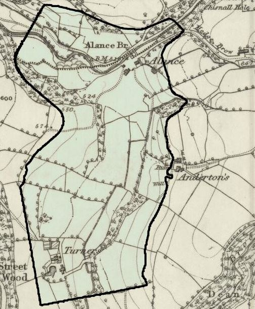 Anderton's farm shown centre right on the 1849 OS Map.  The border of the Yarrow Reservoir has been added for comparison.