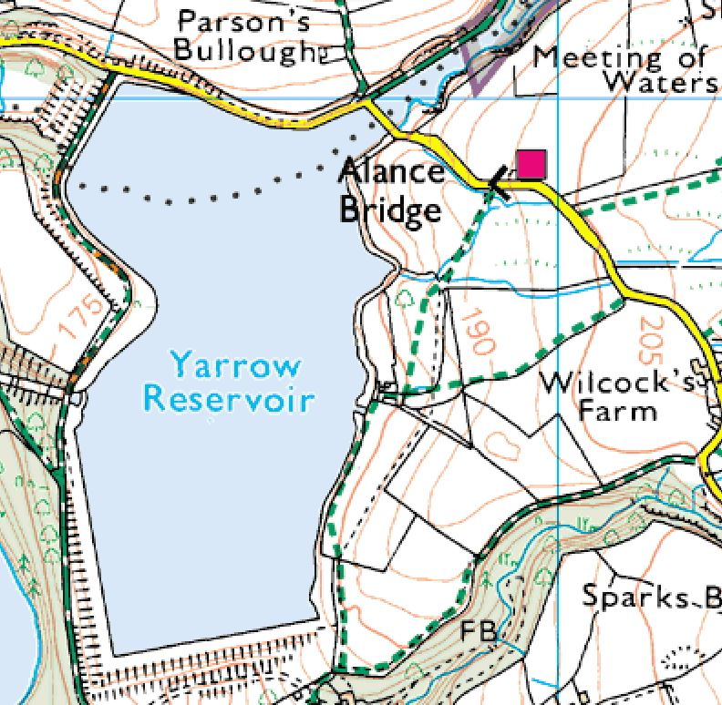Here the current OS map shows the ruins, which are now unnamed.